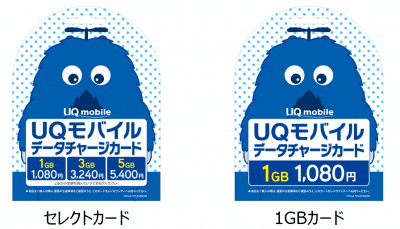 UQモバイルデータチャージカード種類
