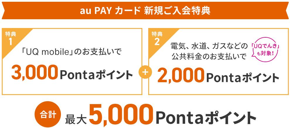 au Payカード新規ご入会特典 還元額